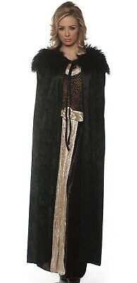 Black Medieval Cloak Cape Adult Womens Female Game of Thrones Renaissance](Game Of Thrones Cloak)