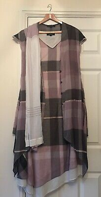 Ladies Nitya 3 Piece Outfit Dress Shawl Scarf Size 38 UK 10-12 Pink Black Ivory 3-piece Kleid Outfit