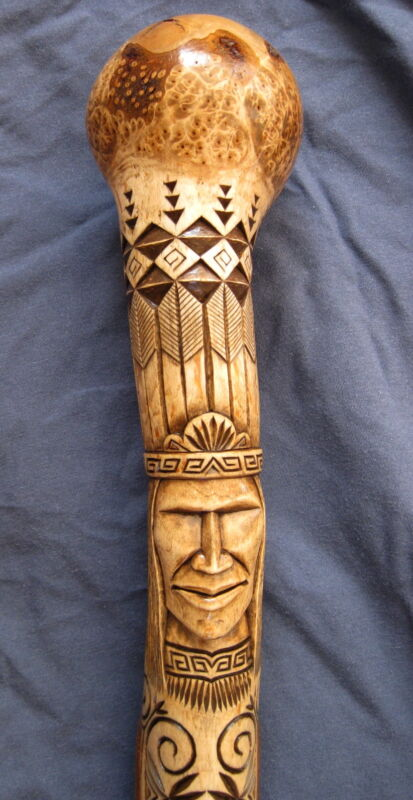 EXQUISITELY CARVED, ball topped war club, Hugga Dana, Penobscot - chip carver