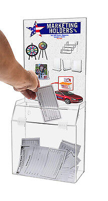 Locking Ballot Suggestion Box W Header Clear Acrylic