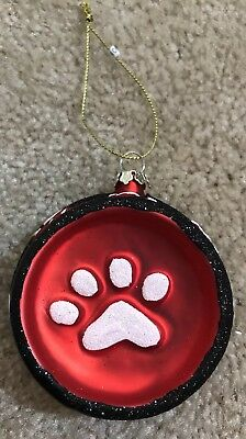 Red Puppy Dog Bowl With White Paw Prints  Christmas Glass Ornament