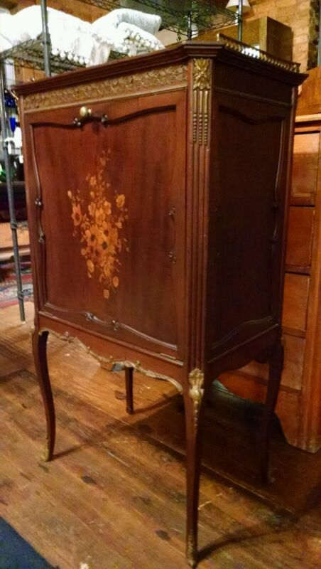 Antique Music Cabinet 19thC  Louis XV Style-Ormolu Gallery-Floral Marquetry