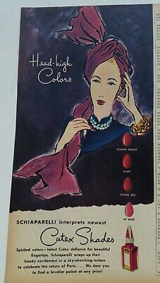 1945 Schiaparelli interprets Cutex Shades fingernail nail polish vintage ad