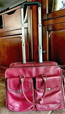 Franklin Covey Burgundy Leather Wheeled Carry On Travel Bag Rolling Briefcase Leather Rolling Briefcase