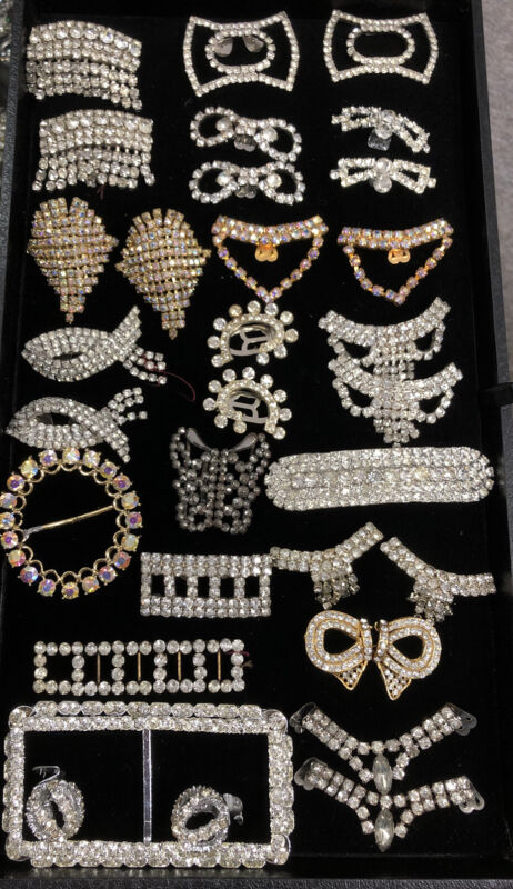 Vintage Rhinestone Shoe/ Dress Clips & Belt Buckles, High End, Beautiful Lot