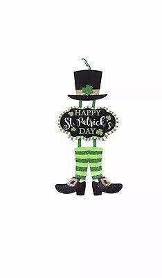 Happy St Patricks Day Decorative Leprechaun Wall Door Sign Shamrock Party - St Patricks Decorations