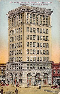 San Jose California First National Bank Building Artist Drawn 1910 Postcard