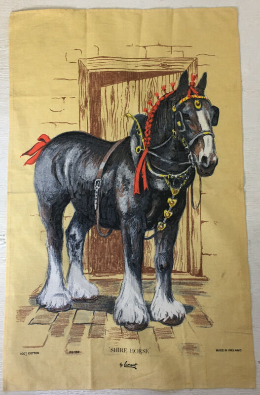 Lamont Vintage Tea Towel Shire Horse Made in Ireland Cotton NEW