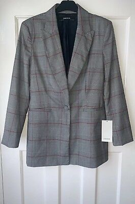 ZARA GREY SINGLE-BREASTED LAPEL COLLAR CHECK BLAZER WITH WELT POCKETS S BNWT