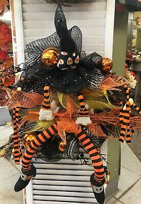 Halloween Wreath Decorations (Fun Witch Legs & Hat & BallsBroom 20