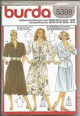 "Burda Sewing Pattern #5388 ""Women's Top & Skirt"" Raglan Shoulder Pads Bust Darts"