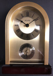 BULOVA CLASSIC DESK CLOCK   HARDING MODEL B5008 With Thermometer