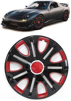 Radkappen Radzierblenden für Stahlfelgen Set Tenzo-R VII 15 Zoll schwarz rot