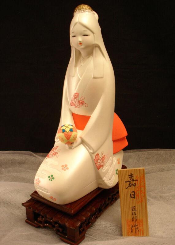 "11 1/2"" H ARTIST TakumiGoro JAPANES SHOWA PERIOD KAJITSU HAKATA DOLL  W/STAND"