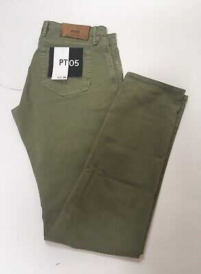 PT05 Mens Pants Size35 Green New Slim Fit