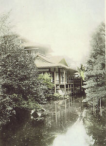 Japanese Tea House - 1901 History of Japan Lithograph