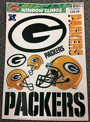 GREEN BAY PACKERS ~ 11x17 Sheet of (8) Ultra Decals Car Auto Window Decal ~ New!