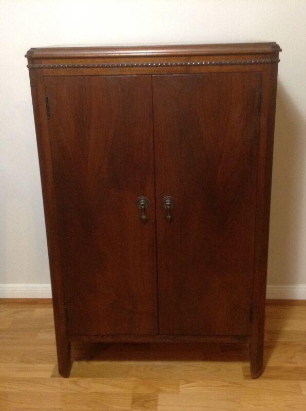 Antique Mahogany Wood 2 Doors Cabinet Chest