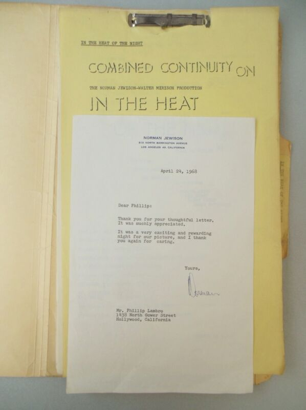 1967 IN THE HEAT OF THE NIGHT SCRIPT / CONTINUITY w/ RELATED NORMAN JEWISON TLS