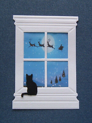 PACK OF 10 LARGE EMBOSSED WINDOW & 10 CAT - CHRISTMAS DIE CUT CARD TOPPERS