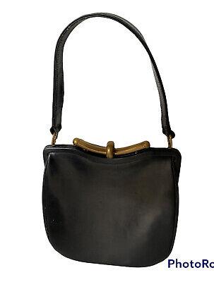 1940s Handbags and Purses History 40s Cartner London Melbourne VTG Black Leather Bag Brass Hardware Art Deco  $110.63 AT vintagedancer.com