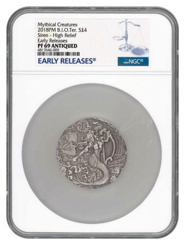 2018 BIO Mythical Creatures Siren UHR 2 oz Silver Antiqued NGC PF69 ER SKU53701