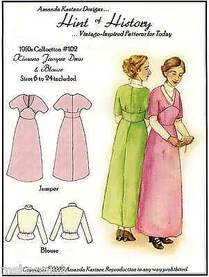 Ladies 1910s Kimono Jumper Dress, Blouse 6-24 Hint of History Sewing Pattern 102