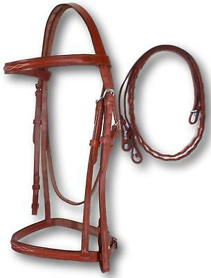 D.A. Brand Chestnut Leather Fancy Stitched Entry Level English Bridle Horse Tack