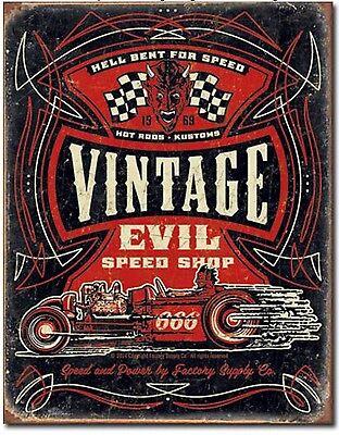 Evil Rat - Vintage Evil Speed Shop Metal Tin Sign Rat Hot Rod Garage Shop  Wall Decor