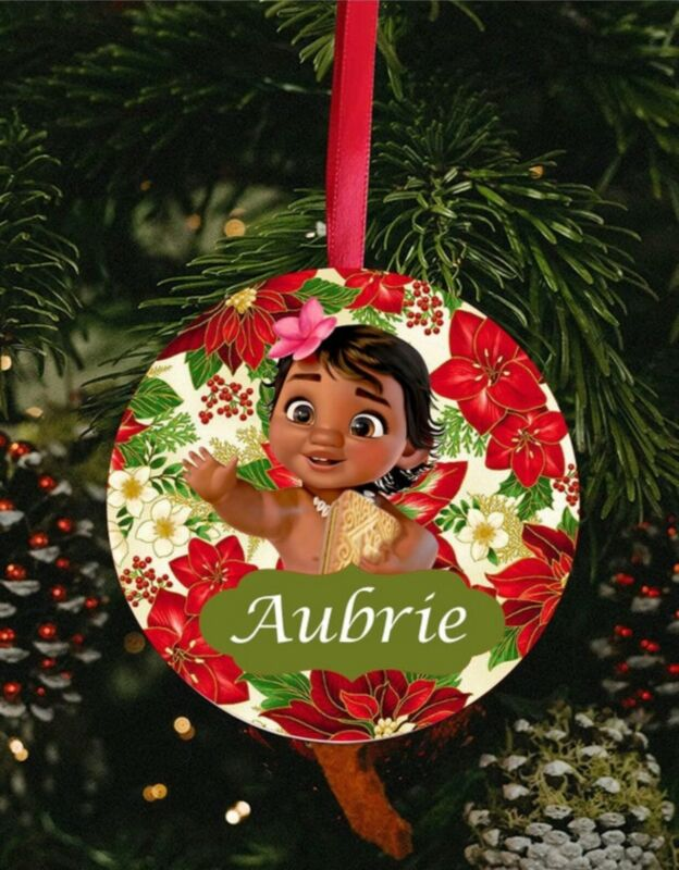 Baby moana ornament, kids ornaments, custom ornaments, ceramic ornaments