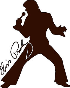 Elvis Presley Silhouette and Autograph Design Car Decall/Sticker