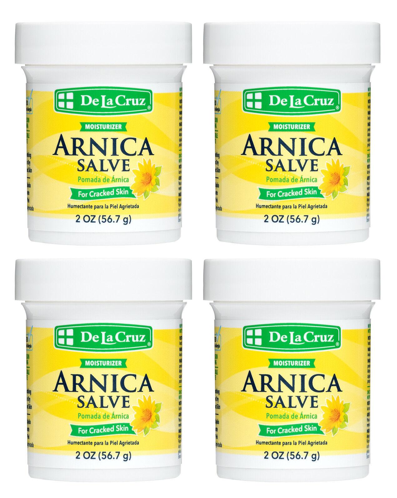 De La Cruz Arnica Salve for Cracked Skin 2 OZ - (4 JARS) / Made in USA Exp 5/24