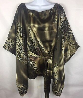 Kaelyn Max II Size 1X Shirt Brown Animal Print Belted Poncho Top Shiny (B5), used for sale  Fort Lauderdale