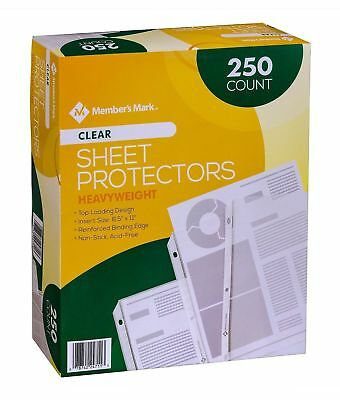 Members Mark Clear Poly Document Sheet Protectors 250 Ct. Use W 3 Ring Binders