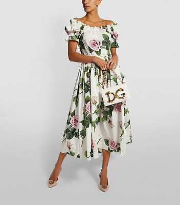 Dolce and Gabbana tropical rose cotton off shoulder dress 38 S