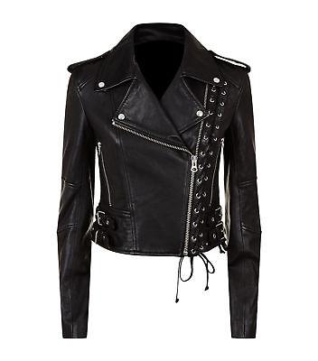 New Women's Black Slim Fit Moto Biker Style Real Leather Jacket