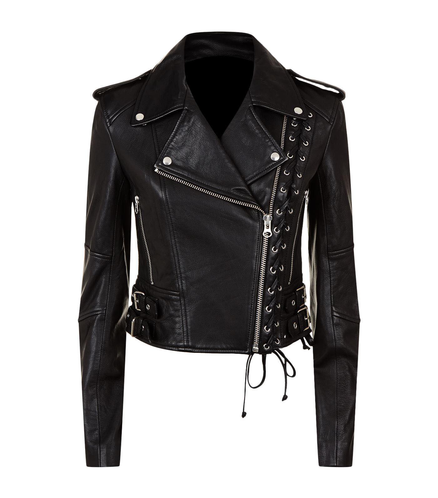 New Women's Black Slim Fit Moto Biker Style Real Leather Jac