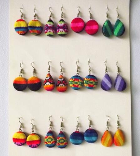 Lot of 16 pairs of Manta Fabric Earrings. Handmade in Peru