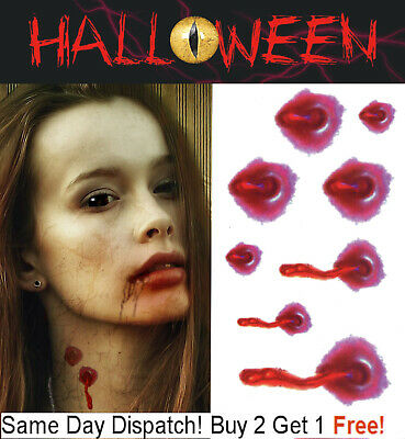 Vampire Bite Temporary Tattoos (Halloween Zombie Vampire Bite Scars Tattoos Fake Blood Scar Wound Make-Up Kit)