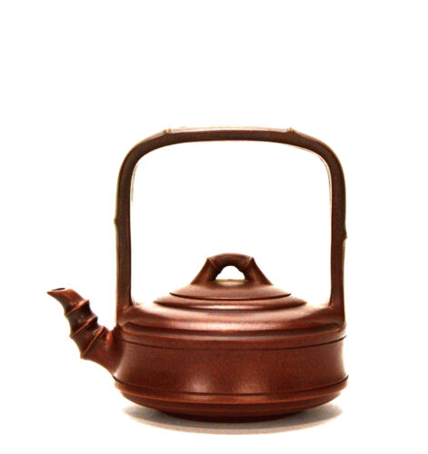 Fine Chinese Tall Handle Bamboo Form Yixing Zisha Purple Clay Ceramic Teapot