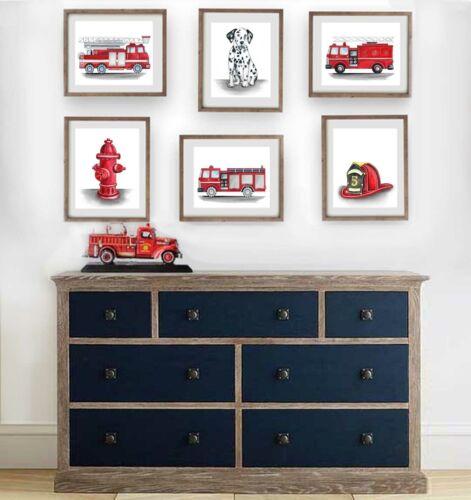 fire truck wall art decor, fire truck engines boy nursery art prints