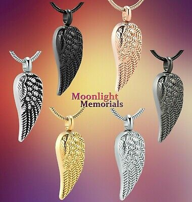 New Angel Wing Feather Cremation Urn Keepsake Ashes Memorial Necklace Memorial Angel Urn