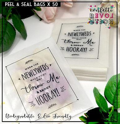Newlywed Confetti Glassine bags Confetti , wedding, throw me, peel & Seal x 50