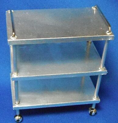 Doll miniature handcrafted Medical Cart Silver metal 1/12  on Rummage
