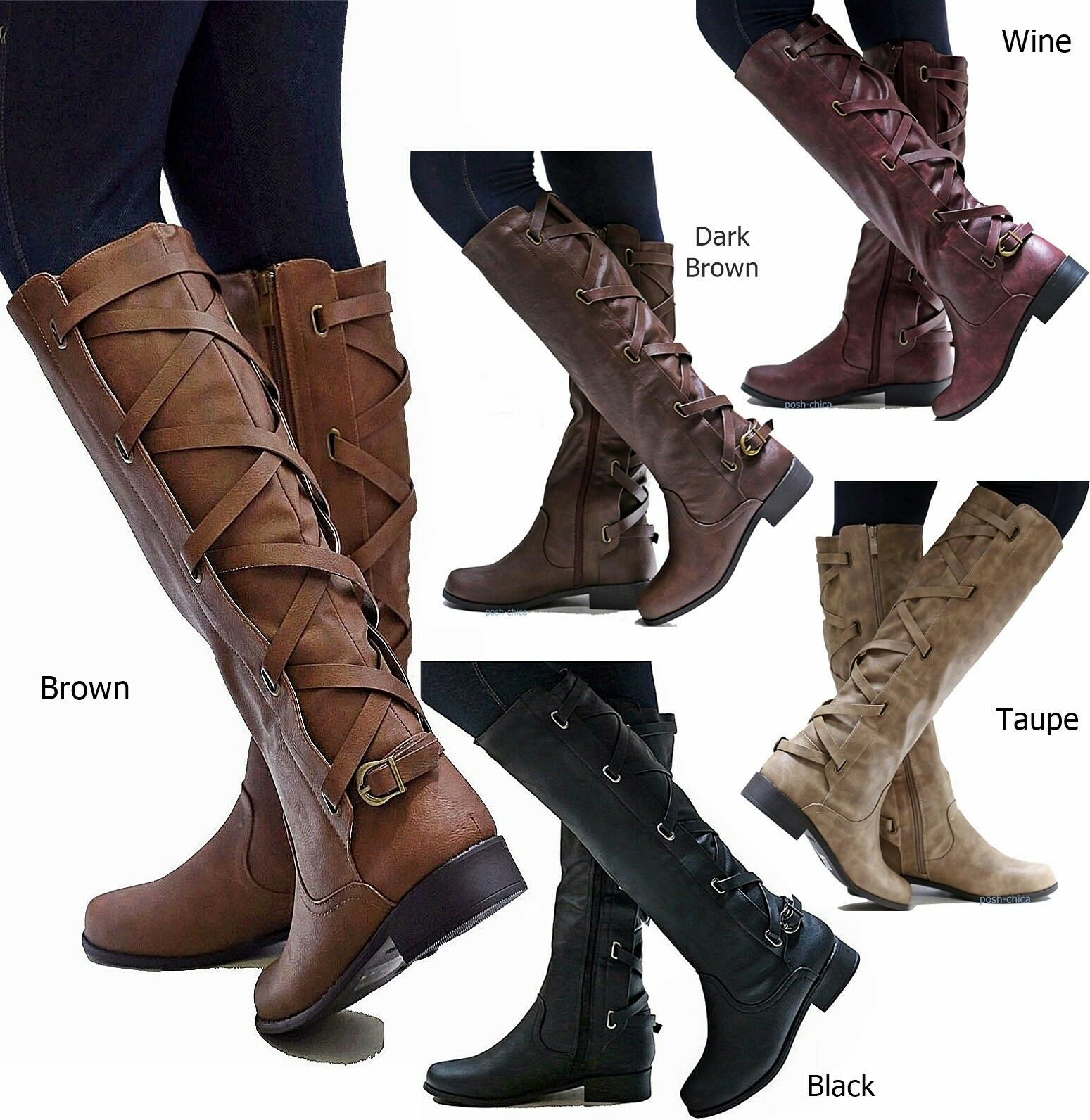 Boots - New Women PcH Brown Black Buckle Riding Knee High Cowboy Boots 5.5 to 11