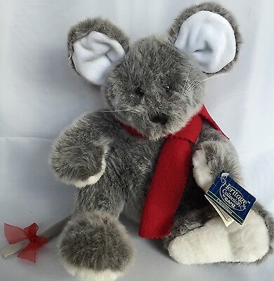 VTG Morton The Mouse Plush Heritage Collection By Ganz Stuffed Gray Red Scarf
