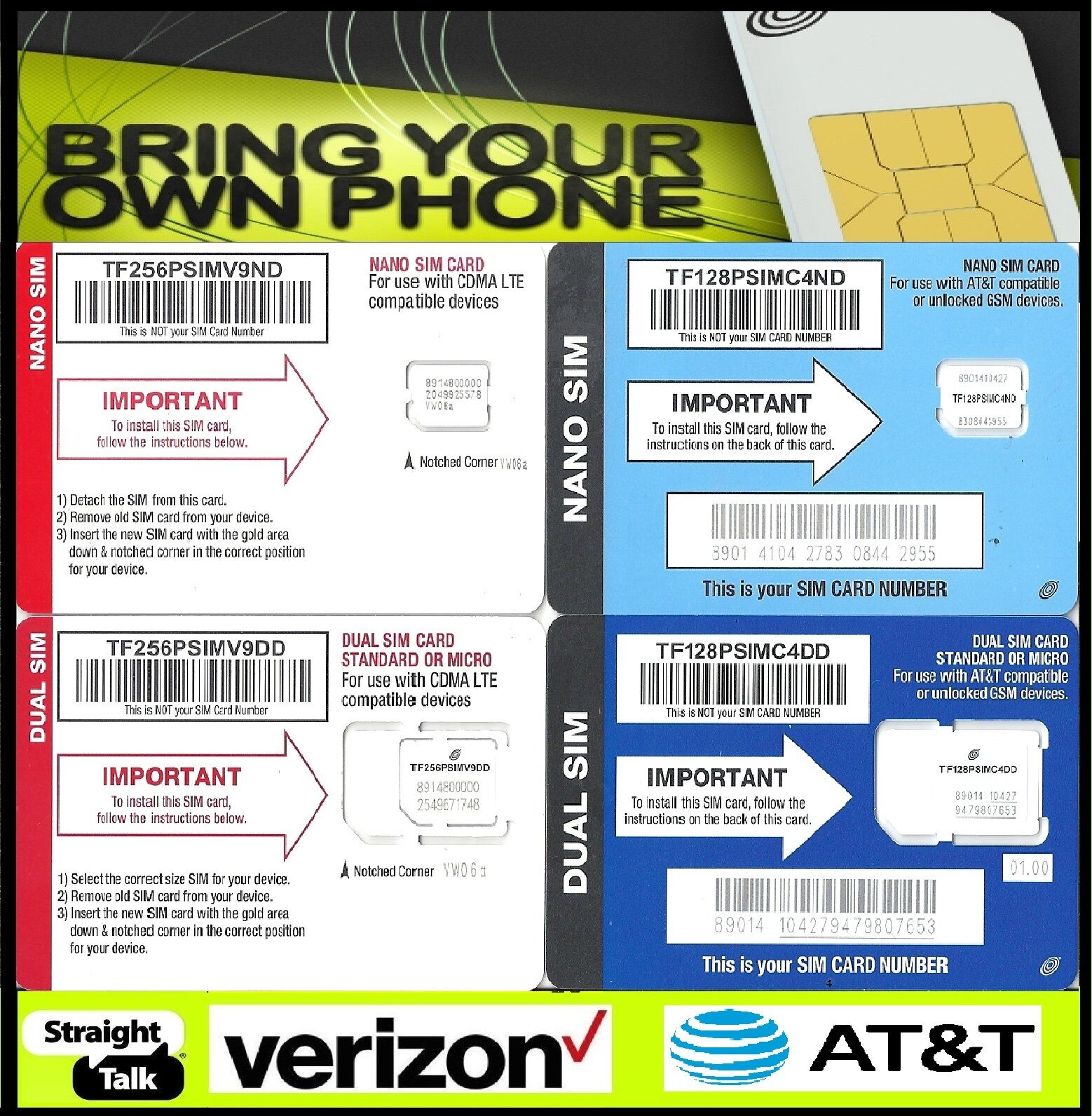 Straight Talk AT&T Verizon Sim Card Activation Kit Bring You
