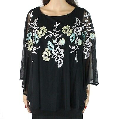 Alfani Womens Blouse Black Size 1X Plus Floral Embroidered Cape Overlay $99 067
