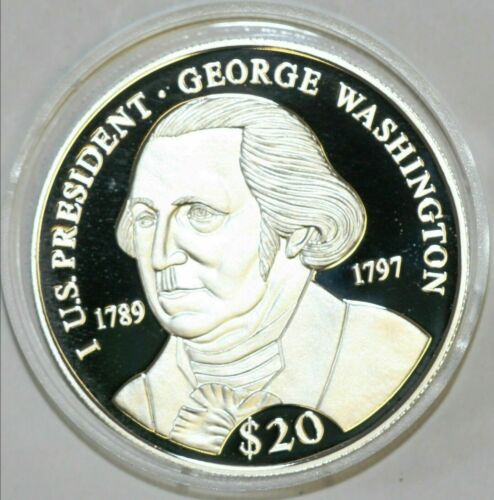 2000 LIBERIA - 20 DOLLARS - PRESIDENT WASHINGTON - PROOF SILVER CROWN - .65 Oz