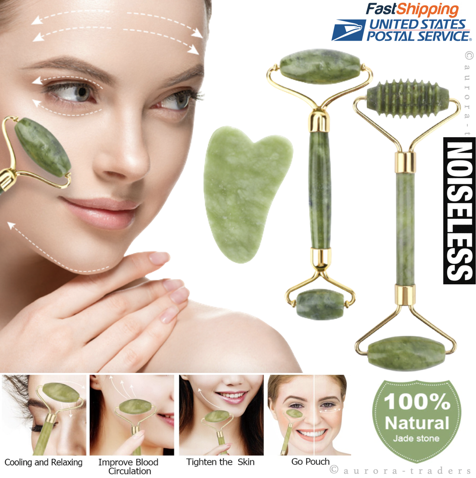 Natural Jade Roller Face Body Eye Kit Massager Anti Aging Wrinkle Beauty Therapy